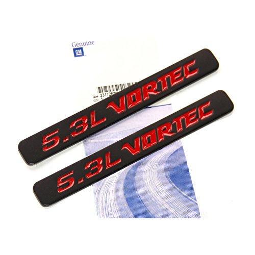Yoaoo® 2x OEM Black 5.3L Vortec Hood Emblems Engine Badge Silverado Z71 GMC Sierra 2 (Engine Vortec compare prices)