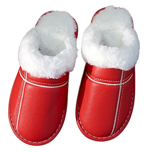CYBLING Fur Lining Warm Non-Slip Comfy Indoor House Slippers Soft Sole Red UMwUSIH