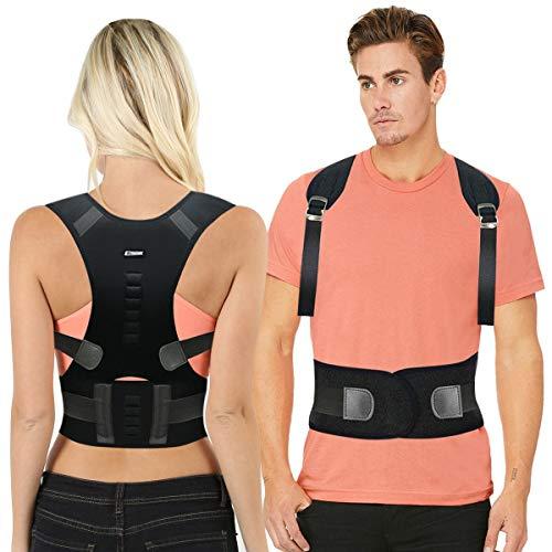 EPROSMIN Back Brace Posture Corrector |Fully Adjustable Support Brace for Men and Women|Improves Posture and Provides Lumbar Back Brace| Lower and Upper Back Pain Relief (L(30-35 Waist))