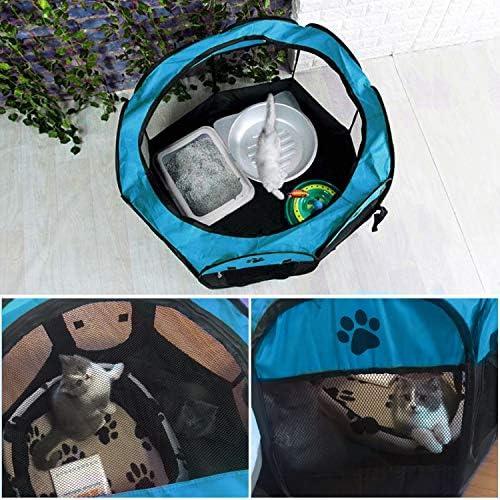 Coolty Pliable Parc à Chiots Chien, Chien Pet Playpen pour Chiens Chats Lapins et Petits Animaux, 73 * 73 * 43cm (Bleu)