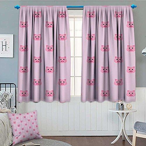 Pig Decor Collection Blackout Window Curtain Pig Avatar Kid-Friendly Clip Art Funny Icon Illustration Design Art Print Customized Curtains 72
