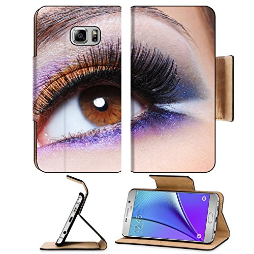 MSD Premium Samsung Galaxy Note 5 Flip Pu Leather Wallet Case Note5 IMAGE ID: 7817373 Macro shot of a female eye with fashion saturated make up