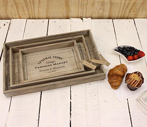 Amazon.com: General Store Set of 3 Wooden Trays Farmers Market Vintage Breakfast Lunch Gift: Home & Kitchen