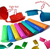 Silicone Ice Pop Maker Tube Molds, Popsicle molds, set of 10, Assorted Colors