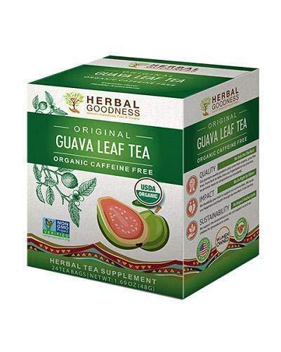 Guava Leaf Tea - Carb Blocker | Fat Burner | Blood Sugar Support | Hair Re-Growth, Skin & Nails | Sleep Aid - Organic, Kosher | 100% Pure - Energy Boost | Digestion & Immunity - 24 Teabags made in USA
