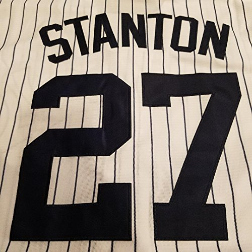Majestic Athletic Men's New York Yankees Giancarlo Stanton White Cool Base Replica Player Jersey (Replica Baseball Shirts)