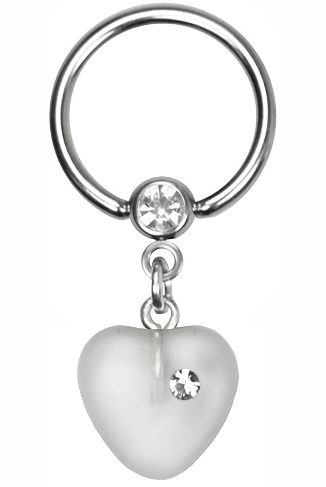 BodySparkle Body Jewelry White Dangle Heart Nipple Ring-Steel Captive Ring-14g-5//8-16mm