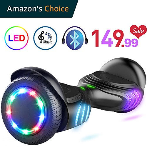 Tomoloo Hoverboard Bluetooth Speaker Colorful Led Lights Self Balancing Scooter Ul2272 Certified 6 5  Wheel Adults Child