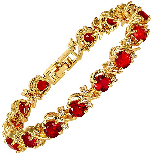 RIZILIA BLOSSOM Tennis Bracelet & Round Cut CZ [Simulated Red Ruby] in Yellow Gold Plated, 7