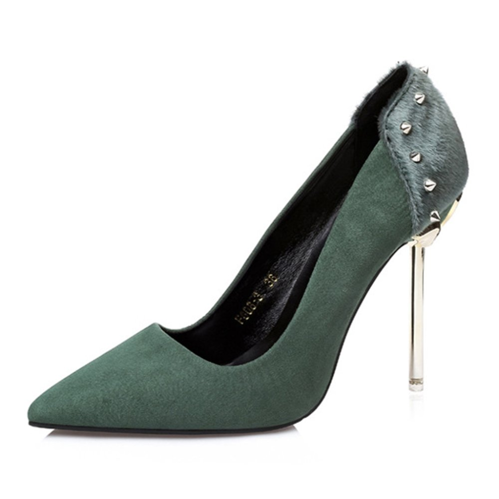 Mode Nieten Closed Toe Pumps Flach High Heels Stiletto Schuhe Abendkleid Gericht Schuhe Sandalen  EU:34/UK:2|Green