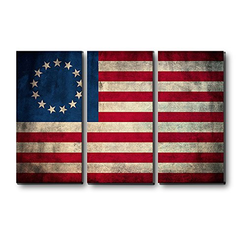 EZON-CH Large Wall Art 3 Panels Vintage Retro Betsy Ross American Flag Canvas Print Wall Art Stretched and Framed Painting on Canvas for Home Wall ()