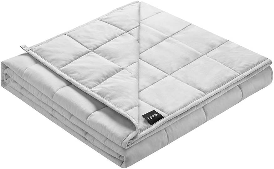 ZonLi Soft Weighted Blanket 15lbs(48''x72'', Twin Size, Light Grey), Cooling Weighted Blanket for Adults, 100% Cotton Material with Glass Beads, Gift for Your Loved