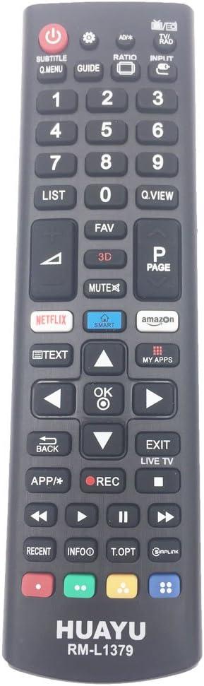 HUAYU RM-L1379 - Mando a distancia estándar para televisor LG Smart LED TV con botones 3D/Amazon/Netflix APP - AKB75095307, AKB75095303: Amazon.es: Electrónica