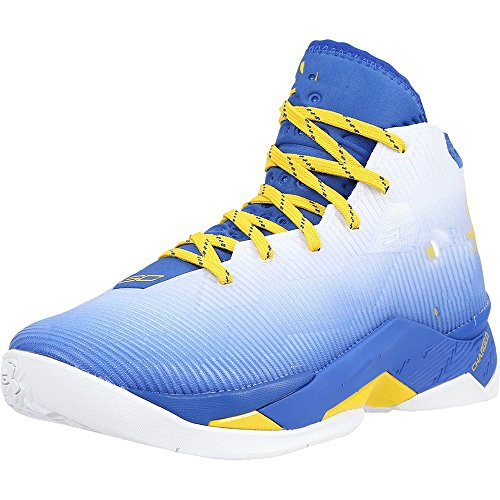 UA 2.5 Dub Nation Men's Leather Basketball Shoes Lightweight Lace Up Athletic Sneakers Royal Blue/White/Yellow Uncategorized