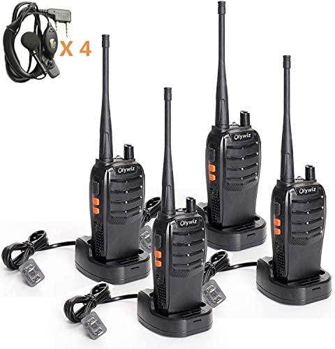 Olywiz Walkie Talkie Rechargeable Two Way Radio Long Range with Earpiece UHF406-470Mhz Handheld 2 Way Radios 4Pack HTD828