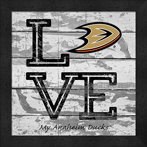 Prints Charming Love My Team Square Anaheim Ducks Framed Posters 13x13 Inches