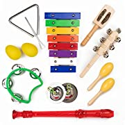 Toddler Music Set - 10 Piece Musical Instruments for Kids, Preschool and Young Children - Includes Xylophone, Recorder Wooden and Percussion Instruments - Music Toys Set Comes With Cute Carrying Bag