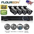 FLOUREON 8CH 1080N AHD 720P DVR Video Surveillance System + 4 Pcs Waterproof Outdoor HD 2000TVL 960P 1.3MP Bullet Cameras Home Security Kit (No HDD)