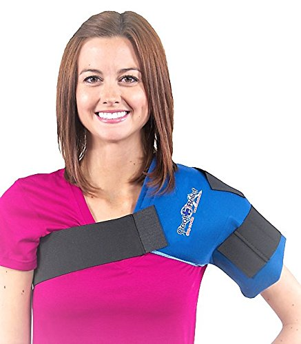 Shoulder Wrap for Pain Relief | Long Lasting Reusable Hot/Cold Gel Pack | Large Coverage Compression Ice Therapy Shoulder Wrap | Bonus Free Extra Gel Pack Included by Cool Relief