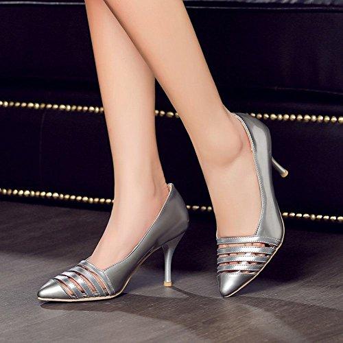 Mee Shoes Damen Stiletto Lackleder spitz Pumps Silber