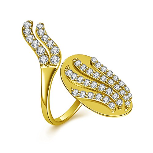 IcedJewels 1.18 cttw Round CZ 14K Yellow Gold Nail Finger Tips Ring, 7 (Yellow 14k Nail Gold)