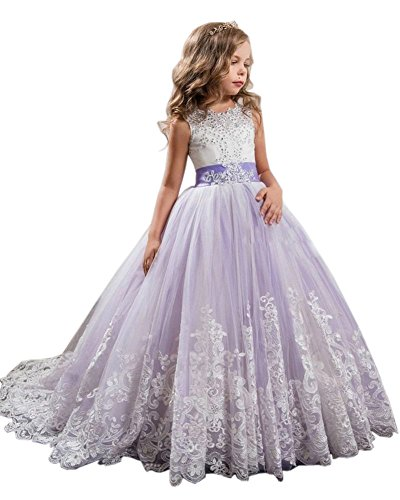 Beautyfudre Girls' Flower Girl Gown Beaded Lace Ball Gown Court Train Princess Pageant Dress Age8 by Beautyfudre