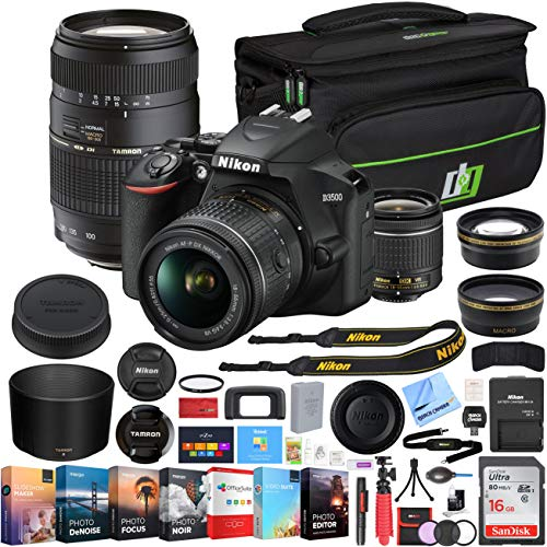 Nikon D3500 DSLR 24.2 MP DX-Format Interchangeable Lens Camera Body with NIKKOR AF-P DX 18-55mm f/3.5-5.6G VR and Tamron 70-300mm f/4.0-5.6 Di LD Macro Zoom AF 2 Lens Kit Editing Bundle