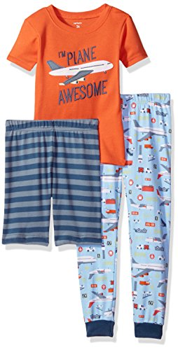 Carter's Boys' Toddler 3-Piece Cotton Pajamas, Plane Awesome, 2T ()