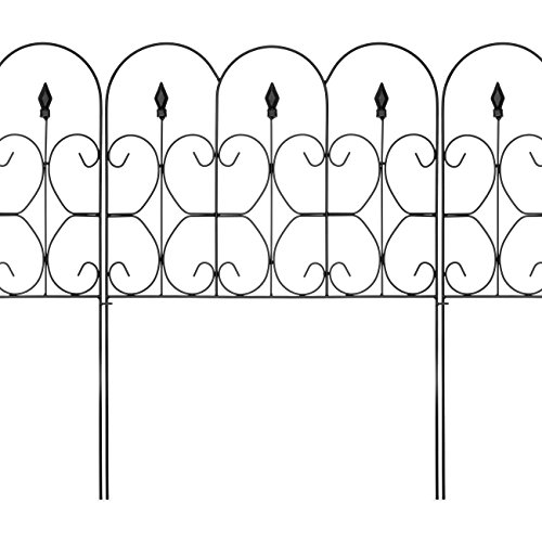Picket Fence Edging (Best Choice Products 10ftx24in Set of 5 Foldable Interlocking Iron Decorative Garden Edging Fence Panels - Black)