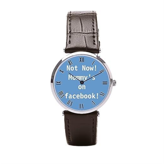 8b9bc47f7b8f momoc negro correa de piel reloj Facebook Flair para hombre relojes correa  de piel  Amazon.es  Relojes