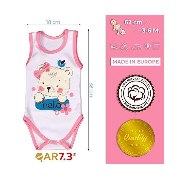 QAR7.3 Completo Vestiti Neonato 3-6 mesi - Set Regalo, Corredino da 5 pezzi: Body, Pigiama, Bavaglino e Cuffietta (Rosa… 4
