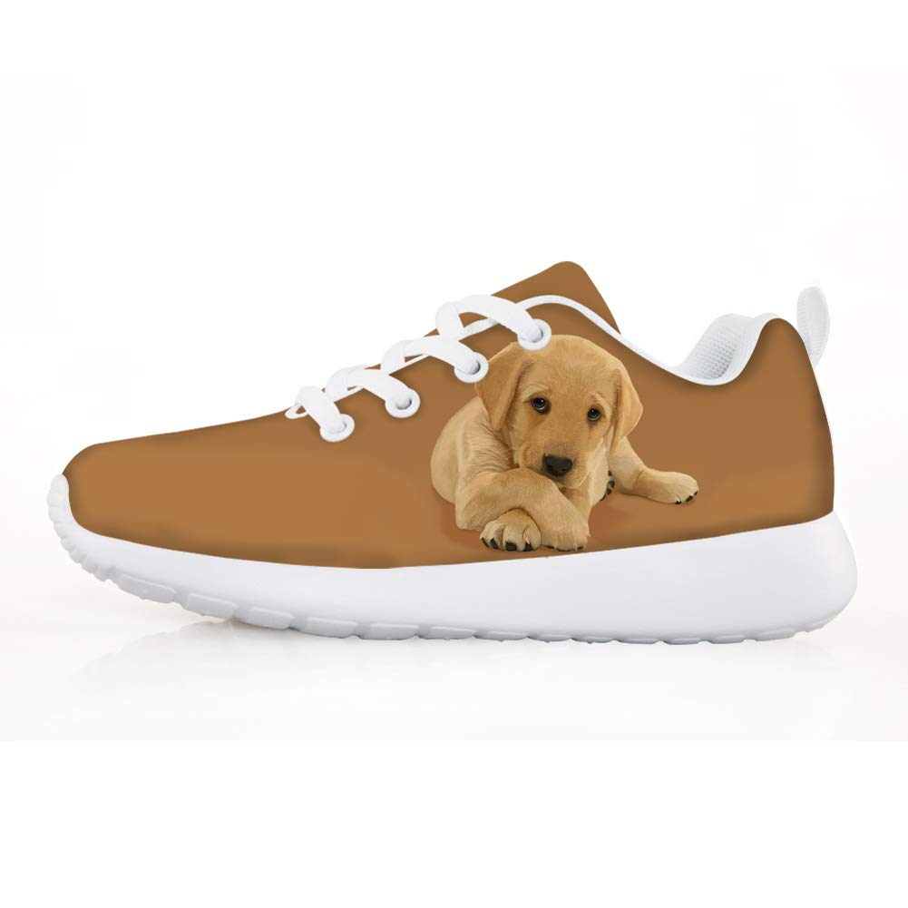 Owaheson Boys Girls Casual Lace-up Sneakers Running Shoes Lovely Labrador Retriever Puppy