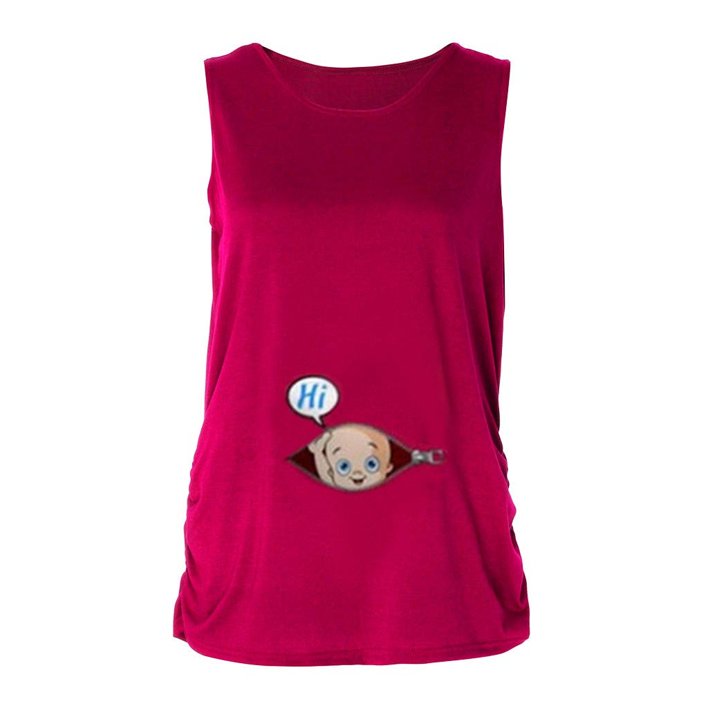 Women Pregnant Tops,Jchen Mom Pregnant Maternity Sleeveless Cute Baby Letter Print Funny T-Shirt Lady Vest Tops (S/US:6, Hot Pink)
