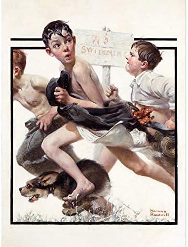 ポスター ノーマンロックウェルスイミングなし A4サイズ [インテリア 壁紙用] 絵画 アート 壁紙ポスター