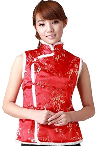 Clothing Chinese Store (Shanghai Story Womens Brocade Chinese Winter Qipao Vest Floral Print XL R)
