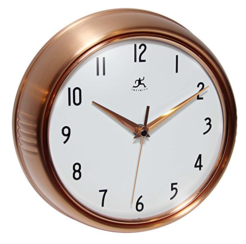 Silent Clock 9 5 Inch Brushed Copper Retro Wall Clock By