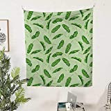 QINYAN-HOME Polyester Tapestry Wall Hanging (51W x 60L INCH Wall Decor Bedroom Living Room DormJungle Palm Leaves Oceanic Climate Theme Florets Rainforest Environment Design Fern Pale Green.