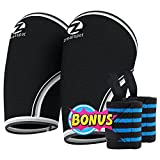 Elbow Sleeves (Pair)W/ Bonus Heavy Duty Wrist Wraps-Support & Compression for Weightlifting, Powerlifting, CrossFit,Basketball and Tennis-5mm Neoprene Brace for Both Women & Men, Black,L