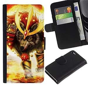 LECELL--Cuero de la tarjeta la carpeta del tirón Smartphone Slots Protección Holder For Apple Iphone 4 / 4S -- Lobo Soldado --