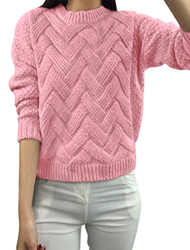 Women Crew Neck Drop Shoulder Long Sleeves Cable Sweater Pink XS