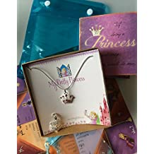 Smiling Wisdom - My Pretty Princess Necklace Gift Set - Interchangeable Pendants, Charm & Origami Fortune Teller Game - Girls, Tween, Daughter - Birthday, Easter Gift - Silver, Pink, Multicolored