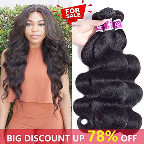 Colorful Queen 8A Brazilian Virgin Hair Body Wave Remy Human Hair 3 Bundles 100% Unprocessed Brazilian Hair Weave Bundles for Women Natural Black Color 8 10 12Inch