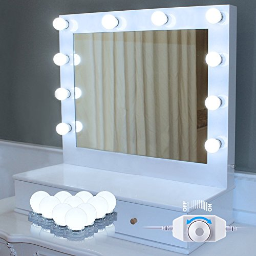 Price comparison product image EECOO Makeup Mirror Lights Hollywood Style LED Vanity Mirror Lights 10 LED with Touch Dimmer,  Plug-in Lighting Fixture Strip for Makeup Table Set in Dressing Room Bathroom (Mirror Not Included