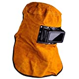 Leather Hood Welding Helmet Face Mask Solar Auto Darkening Filter Lens Welder