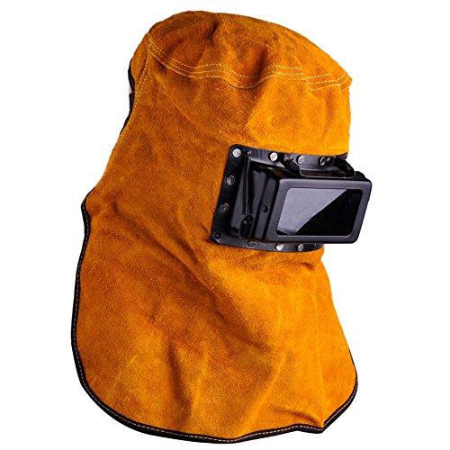 Leather Hood Welding Helmet Face Mask Solar Auto Darkening Filter Lens Welder (Leather Welding Helmet)