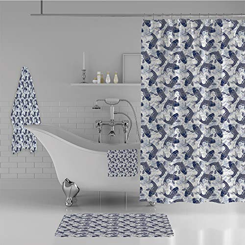 iPrint Bathroom 4 Piece Set Shower Curtain Floor mat Bath Towel 3D Print,Patterned Background Ancestral Animals Asian,Fashion Personality Customization adds Color to Your Bathroom. by iPrint