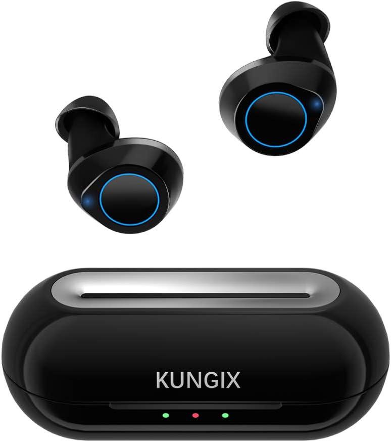 Auriculares Inalambricos Bluetooth v5.0, KUNGIX Auriculares Bluetooth Deportivos In-Ear Mini Twins Auriculares IPX5 Impermeable con Caja de Carga Portátil y Micrófono Integrado para iPhone y Android