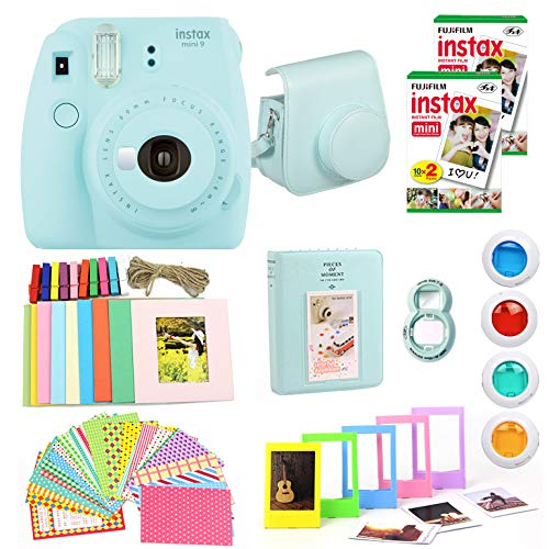 Fujifilm Instax Mini 9 Instant Camera(Certified Refurbished) + Fuji Instax Film (40 Sheets) + Carrying Case, Photo Album, Stickers, Close Up Lens + More (Ice Blue)