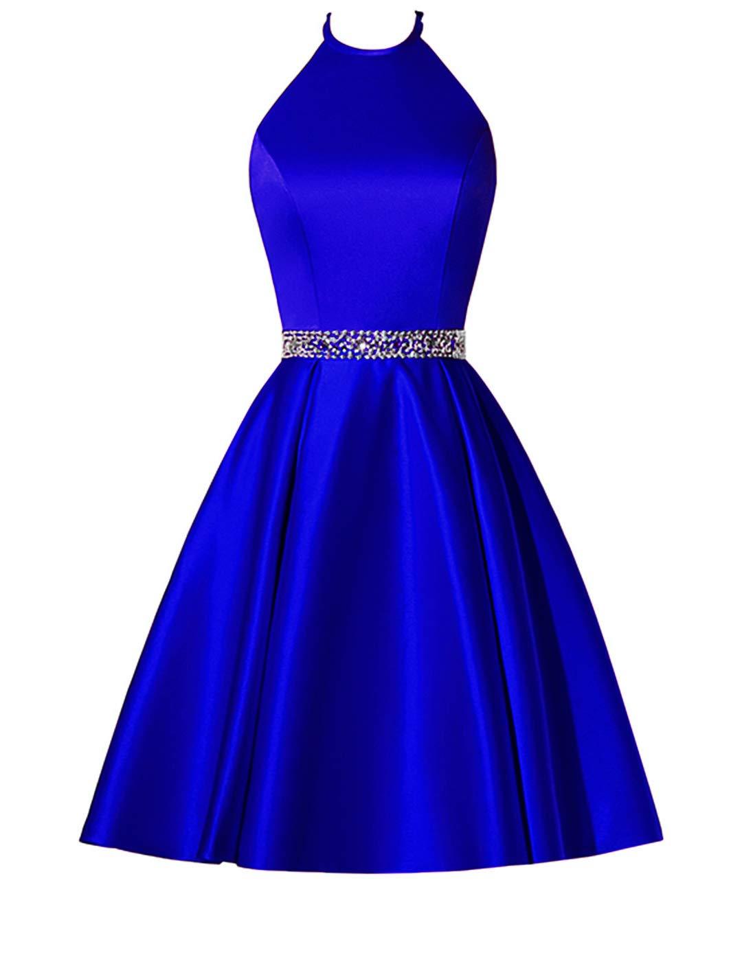 Molisa Satin Halter Homecoming Dresses