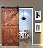 WELLHOME 36inX84in DIY Knotty Pine Sliding Barn Doors Slab (Red Walnut)